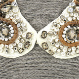 Short Resin Gold Grey White Beaded Collar Necklace For Women