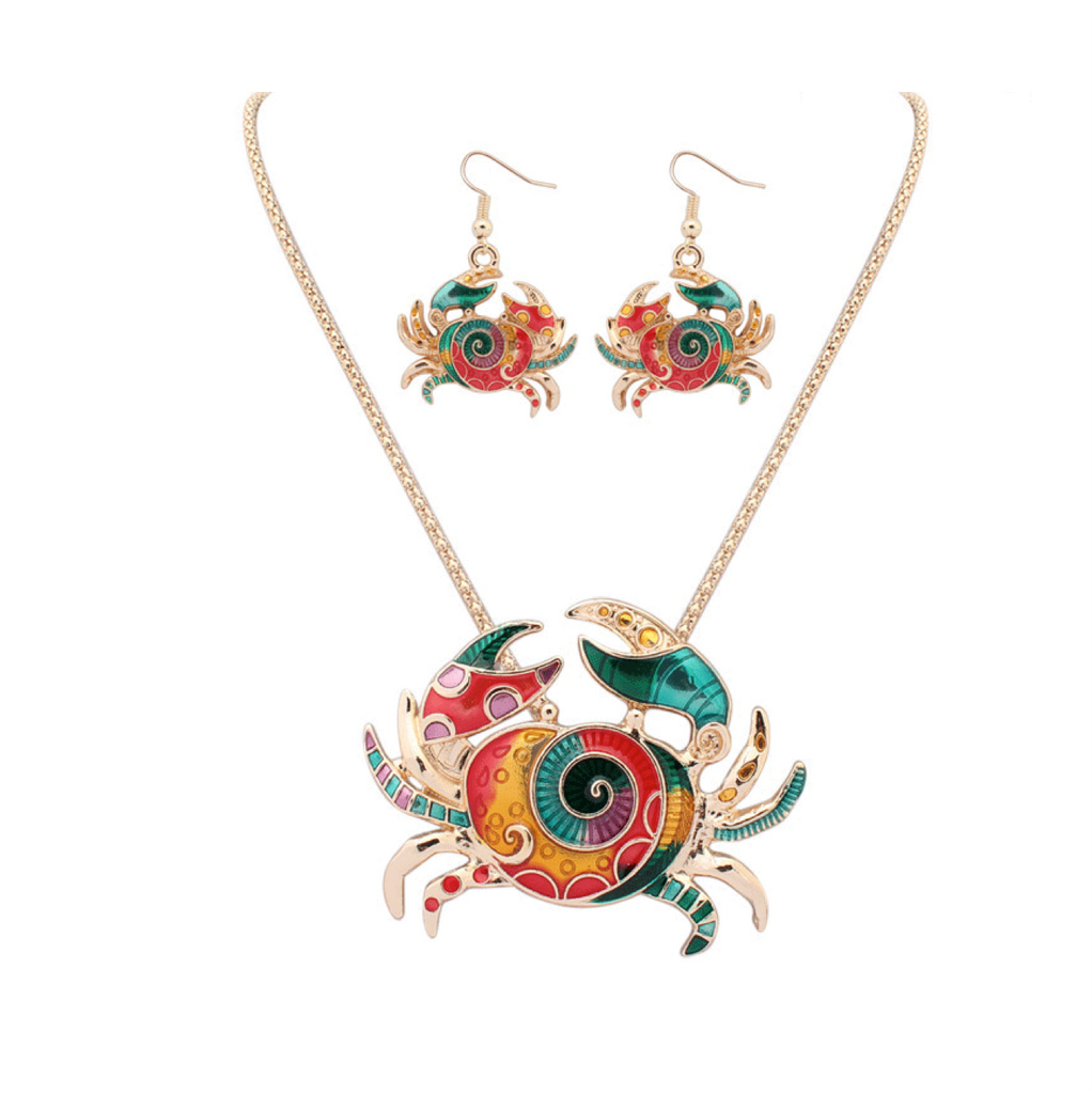 Long Alloy Multi Crab Pendant Women Necklace and Earrings Set