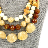 Long Resin Stone Beaded Statement Necklace and Earrings Set For Women