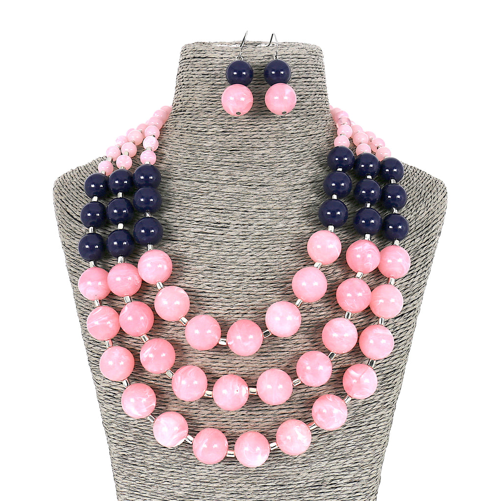 Long Acrylic Beads Layer Necklace and Earrings Set