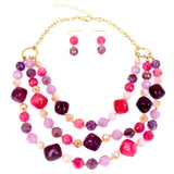 Layered Resin Stone Beads Statement Collar Women Necklace and Earrings Set
