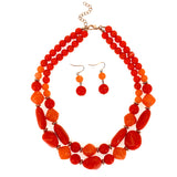 Simulated Stone Beaded Statement Collar Necklace Set