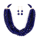 Resin Beads Strand Collar Women Necklace and Earrings Set
