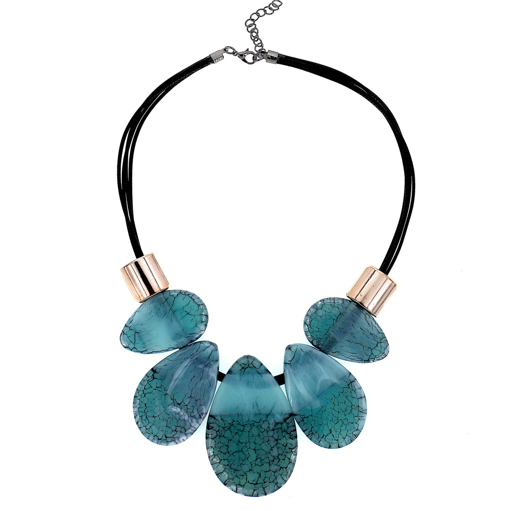 Long Acrylic Green Statement Necklace