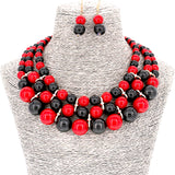 Faux Simulated Pearl Multi-Strand Collar Necklace Set