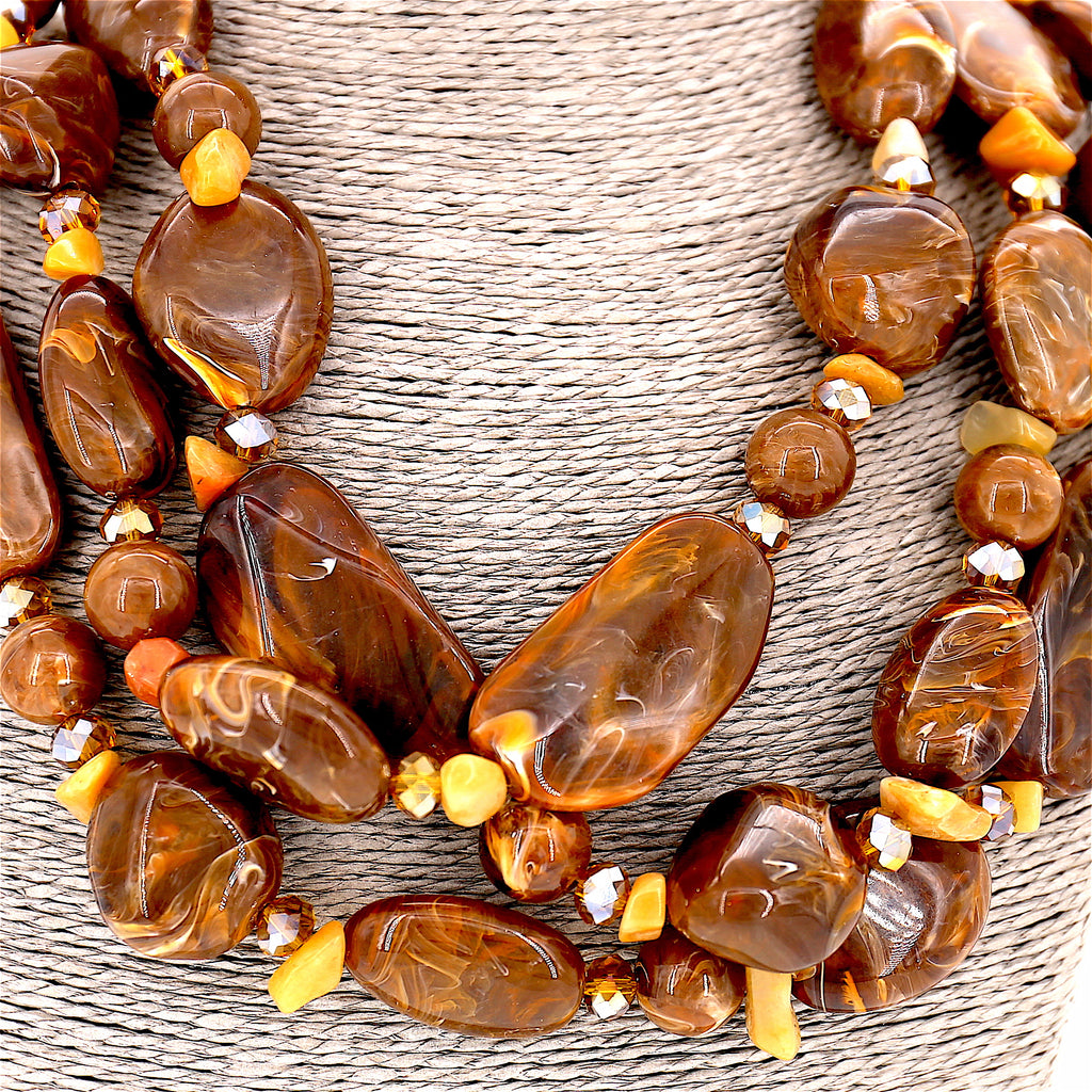 Brown Beads Layer Necklace and Earrings Set