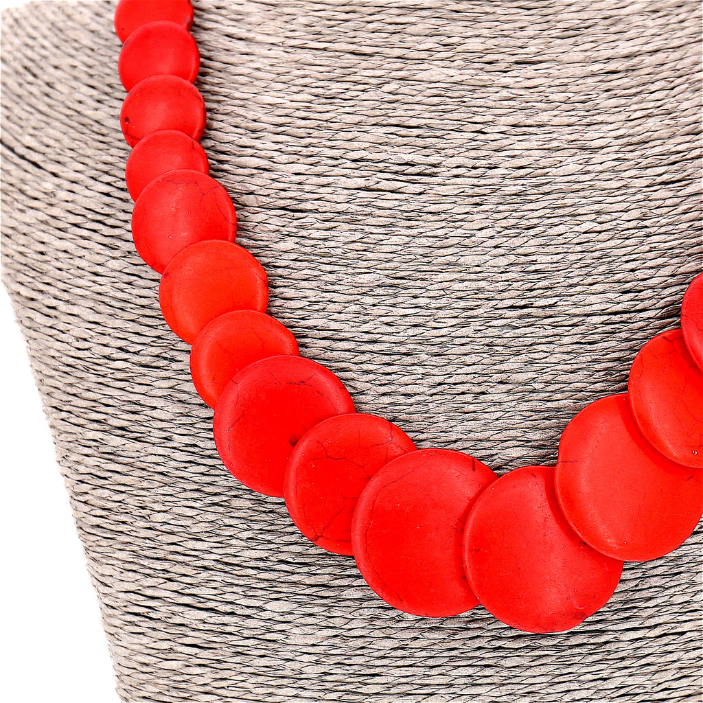 Blue Red Stone Statement Necklace
