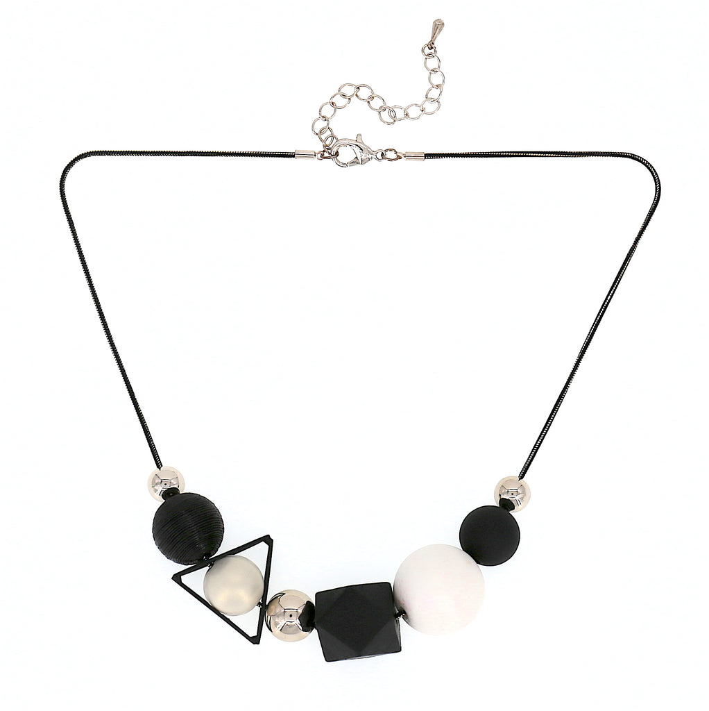 Long Round Bead Statement Necklace (Geo-Black x White)