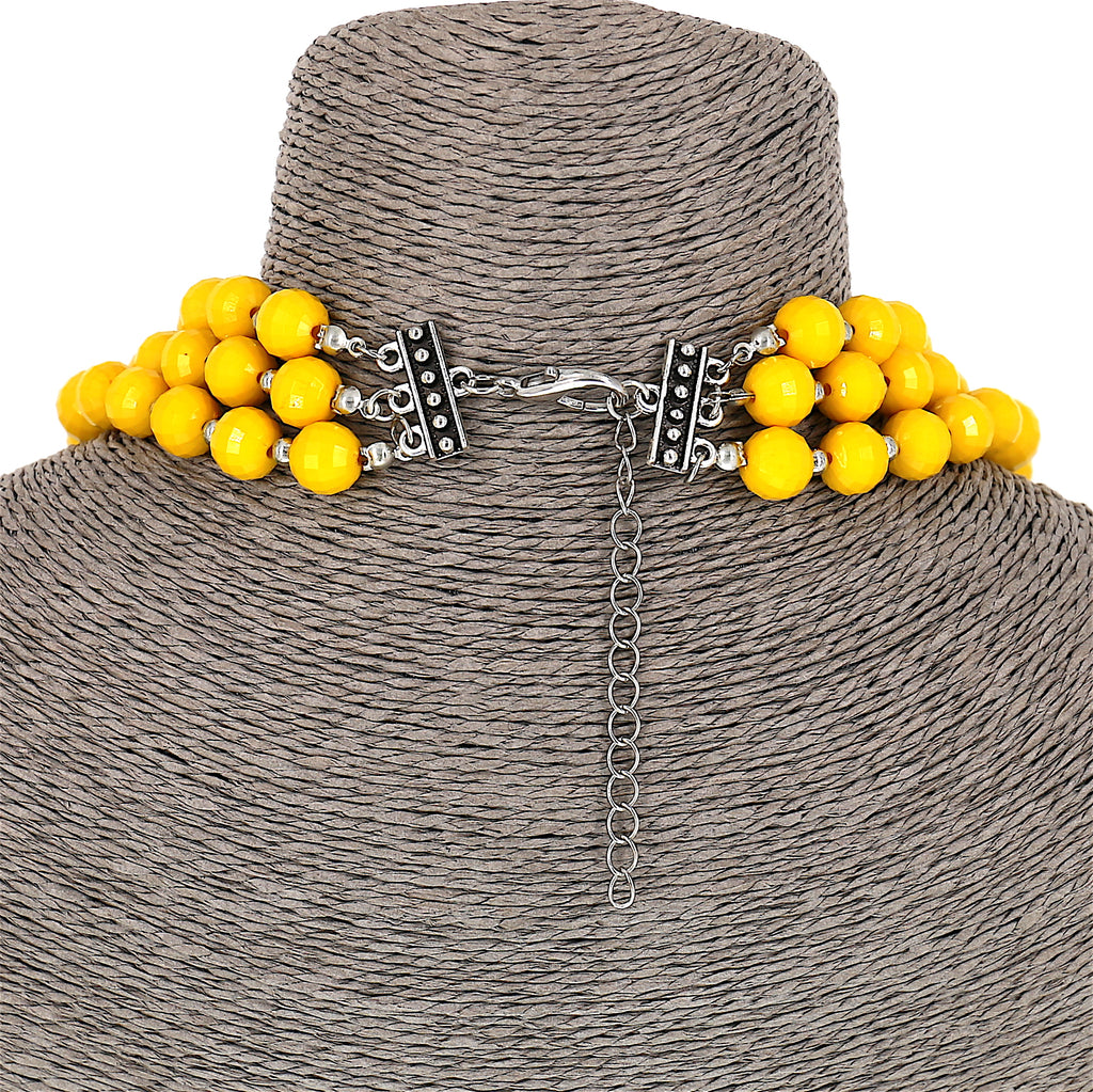 Yellow beads Statement Women Necklace Set (3 Layer )