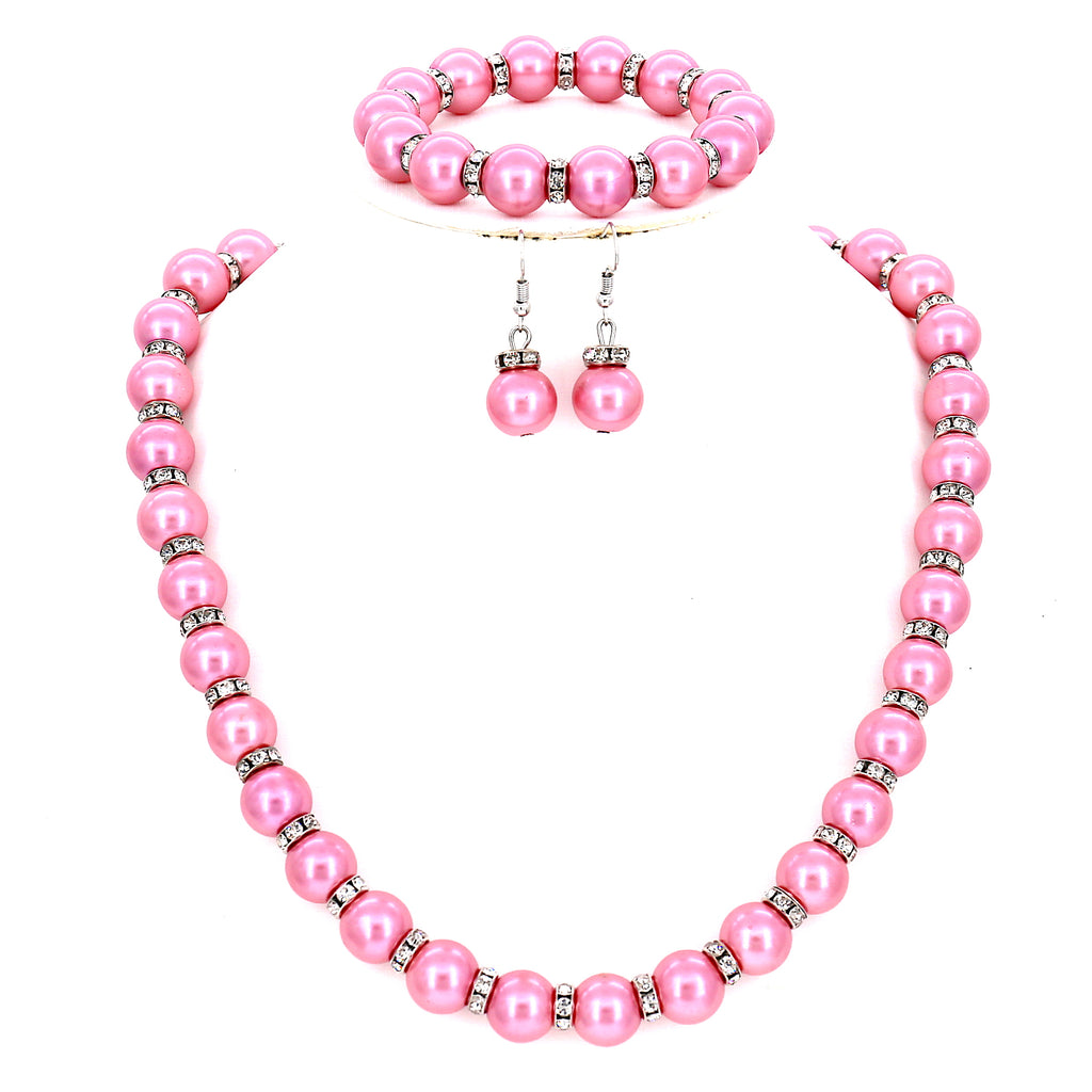 Wedding Fashion Simulated Pearl Beads Collar Women Necklace Earrings Bracelet Set