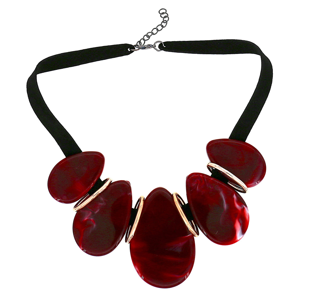 Long Acrylic Red Oval Women Collar Statement Necklace
