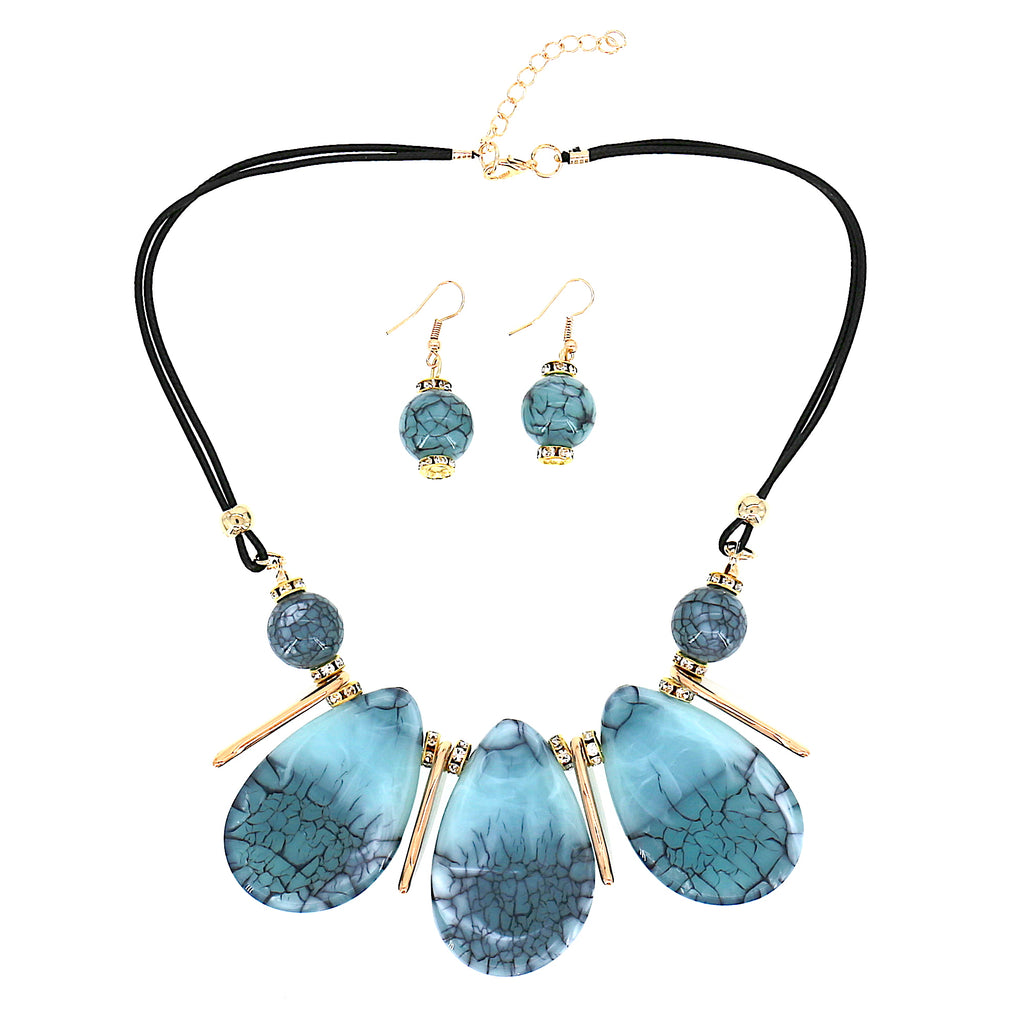Long Acrylic Green Blue Oval Charms Statement Women Necklace Earrings Set