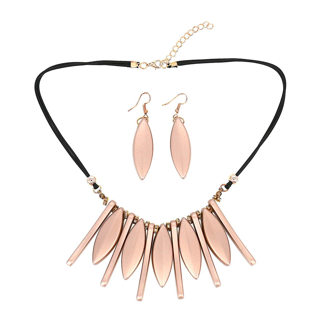 Gold Leaf Teardrop Stripe Pendant Statement Women Necklace Earrings Set