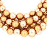 Simulated Pearl Beaded Matte Brown Gold Multi- Layer Strand Women Necklace and Earrings Bracelet Set