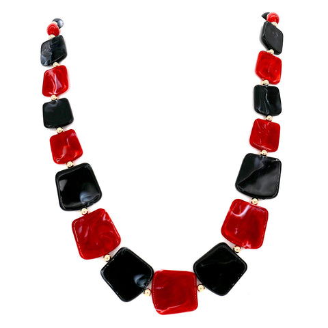 Wood Circle Multicolor Silk Fabric Statement Necklace