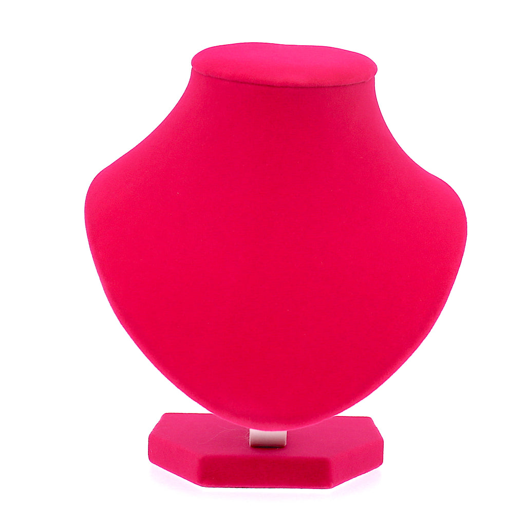 Velvet Necklace Stand Display for Women Deep Pink (15cm)