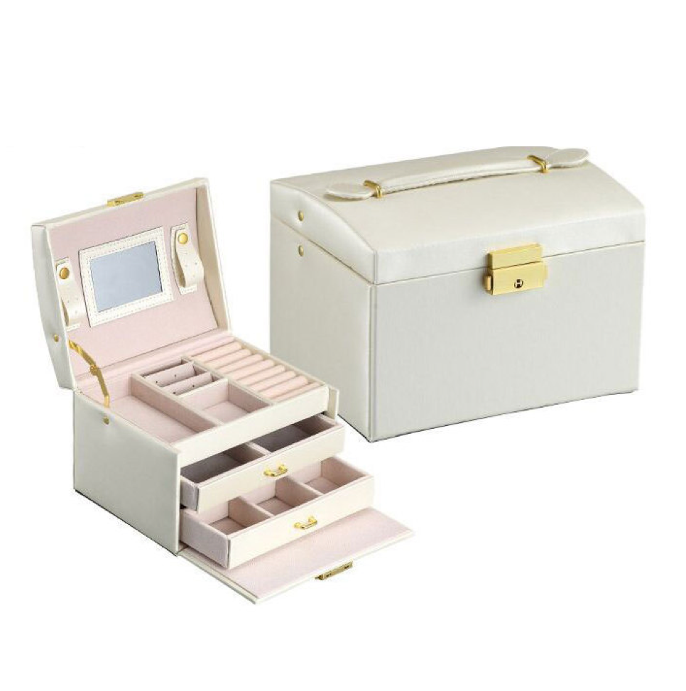 Jewelry Box with Lock Mirror Girls Gift Storage Portable Organizer Lockable for Women (White)