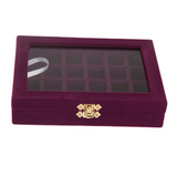 Velvet Jewelry Ring Cufflinks Multi-functional Storage Display Case Organizer Tray Earring Showcase Box with Lid and Lock (12-Grid (Purple))