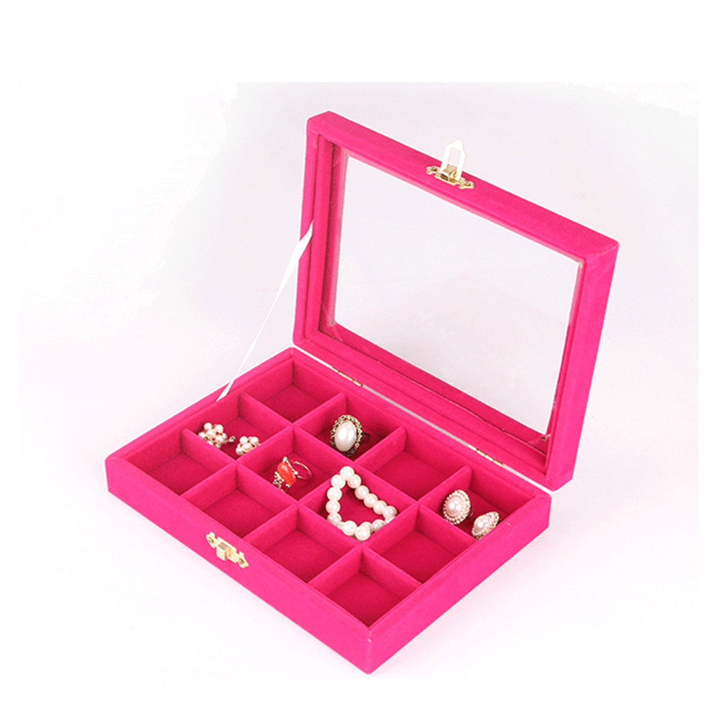 Velvet Jewelry Ring Cufflinks Multi-functional Storage Display Case Organizer Tray Earring Showcase Box with Lid and Lock (12-Grid (Pink))