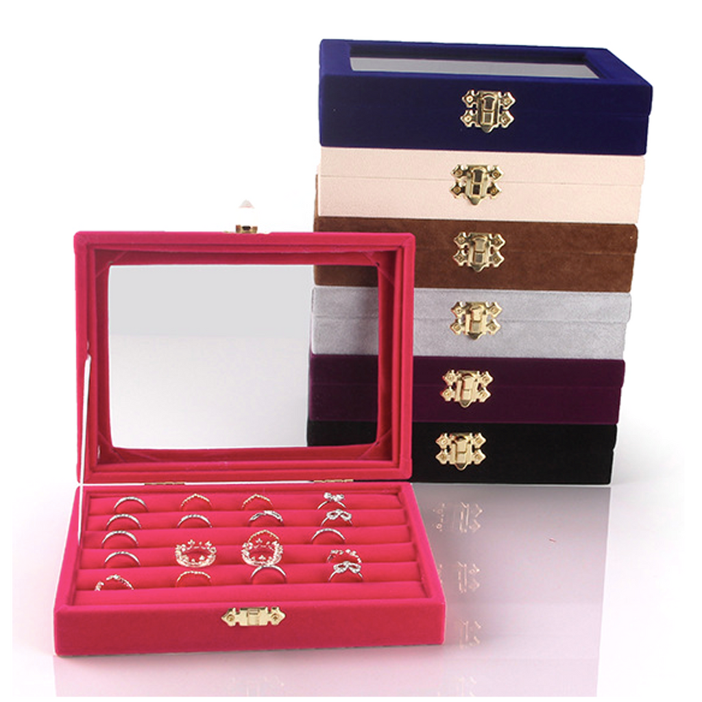 Velvet Jewelry Ring Cufflinks Multi-functional Storage Display Case Organizer Tray Earring Showcase Box with Lid and Lock (7-slot with Lid (Puple))