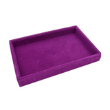 Velvet Jewelry Ring Cufflinks Multi-functional Storage Display Case Organizer Tray Earring Showcase Box with Lid and Lock (Tray (Purple))