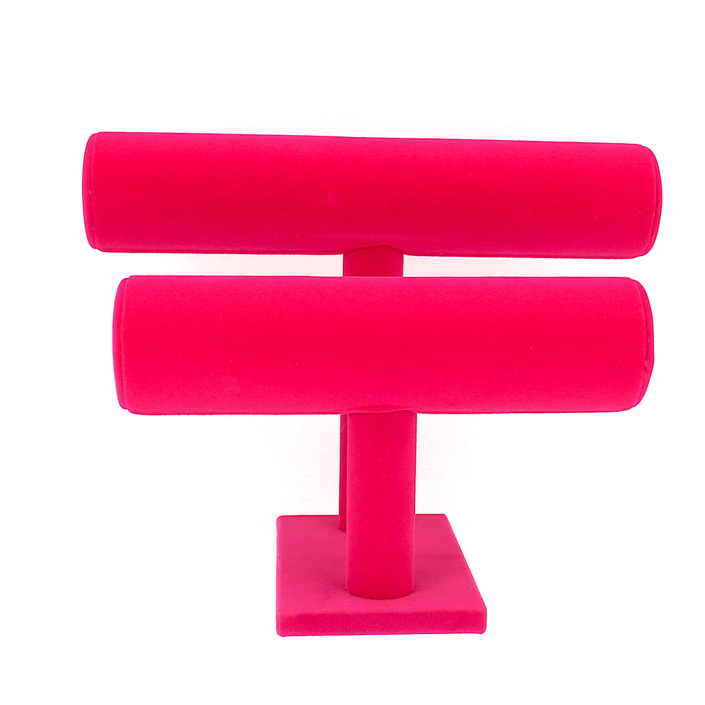 Pink T-Bar Bracelet Necklace Jewelry Display Stand (2 Row)