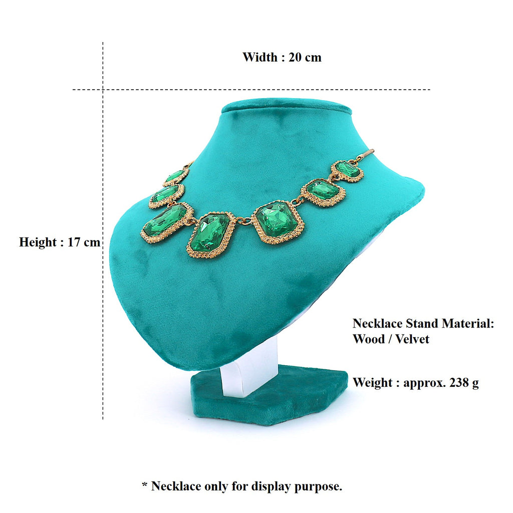 Velvet Necklace Stand Display for Women Blue Green(20cm)