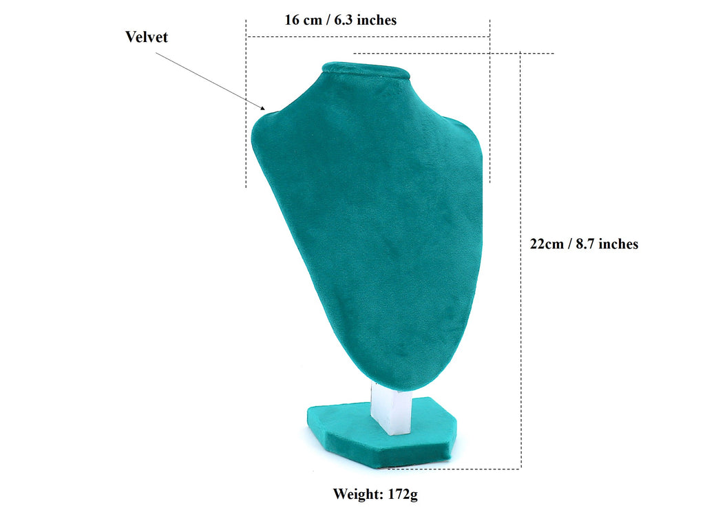 Velvet Necklace Stand Display for Women Blue Green(22cm)