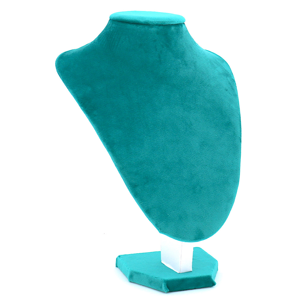 Velvet Necklace Stand Display for Women Blue Green (18X25(H)cm)