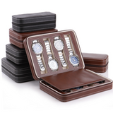 Watch Dislpay Box Organizer Brown PU Leather Portable Watches Travel Box Case for Men (8-Slot)