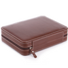 Watch Dislpay Box Organizer Brown PU Leather Portable Watches Travel Box Case for Men (4-Slot)