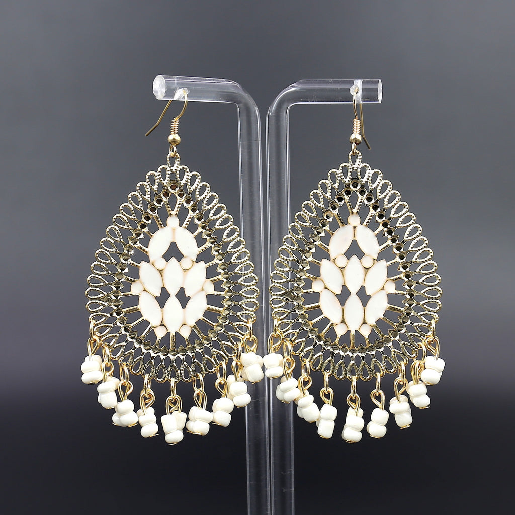 Gold White  New Beaded Dangle Earrings