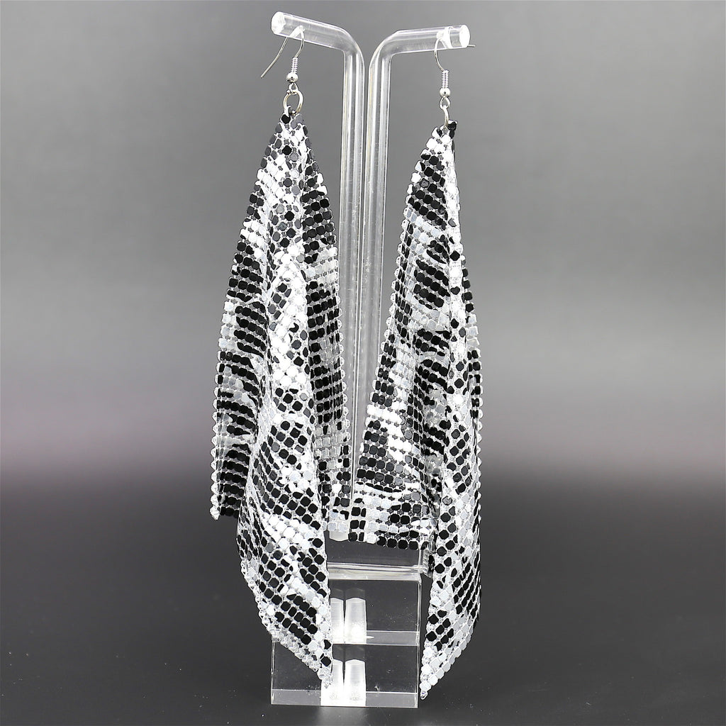 Silver Leopard Disco Standout Dangle Earrings