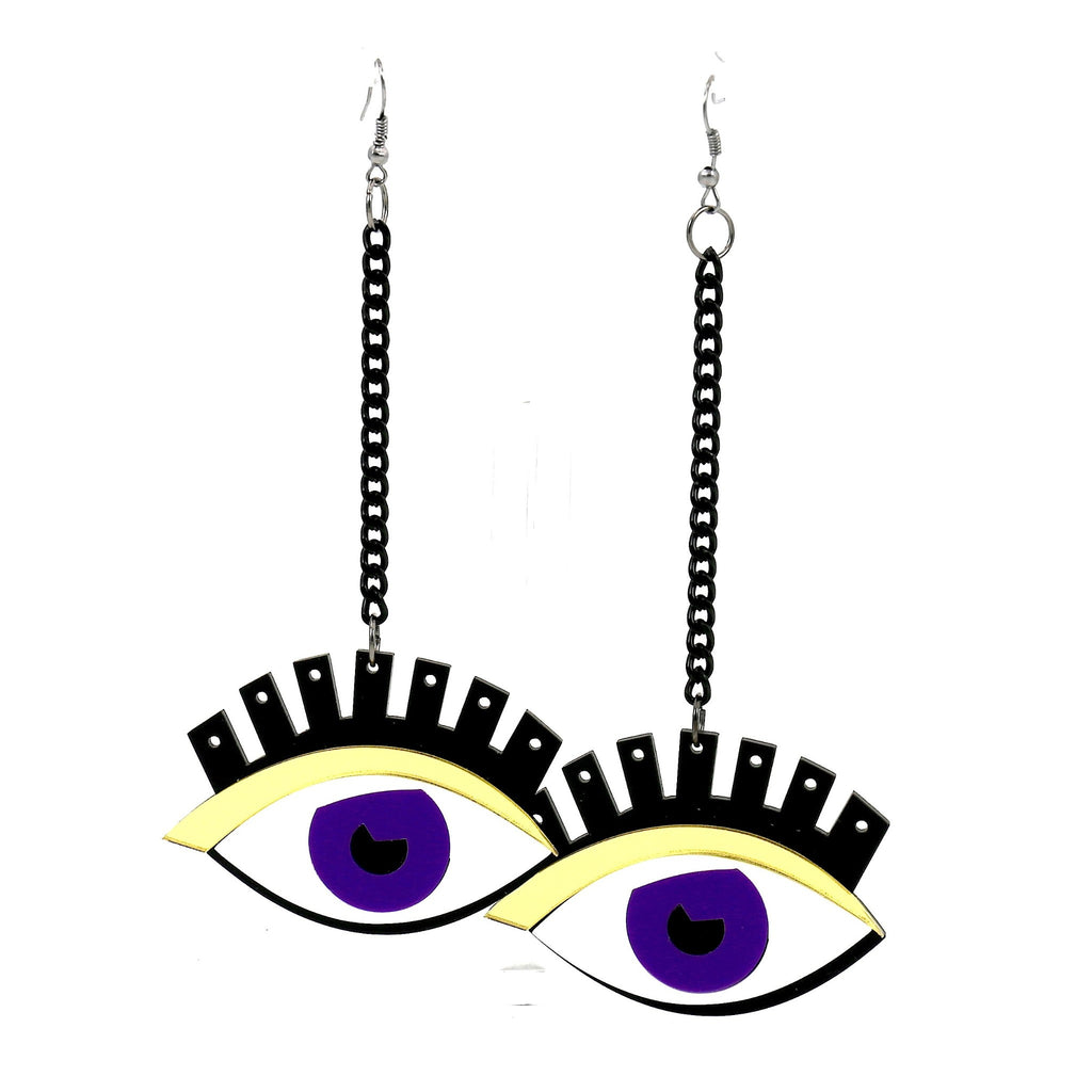 Purple Eye Black Chain Chic Drop Earrings