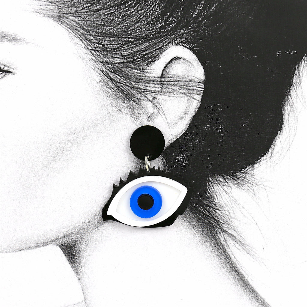 Blue Eye Acrylic Stud Earrings
