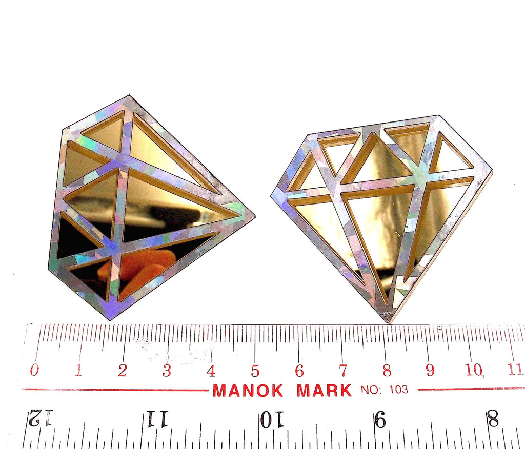 Gold Tone Diamond Shape Stud Earring