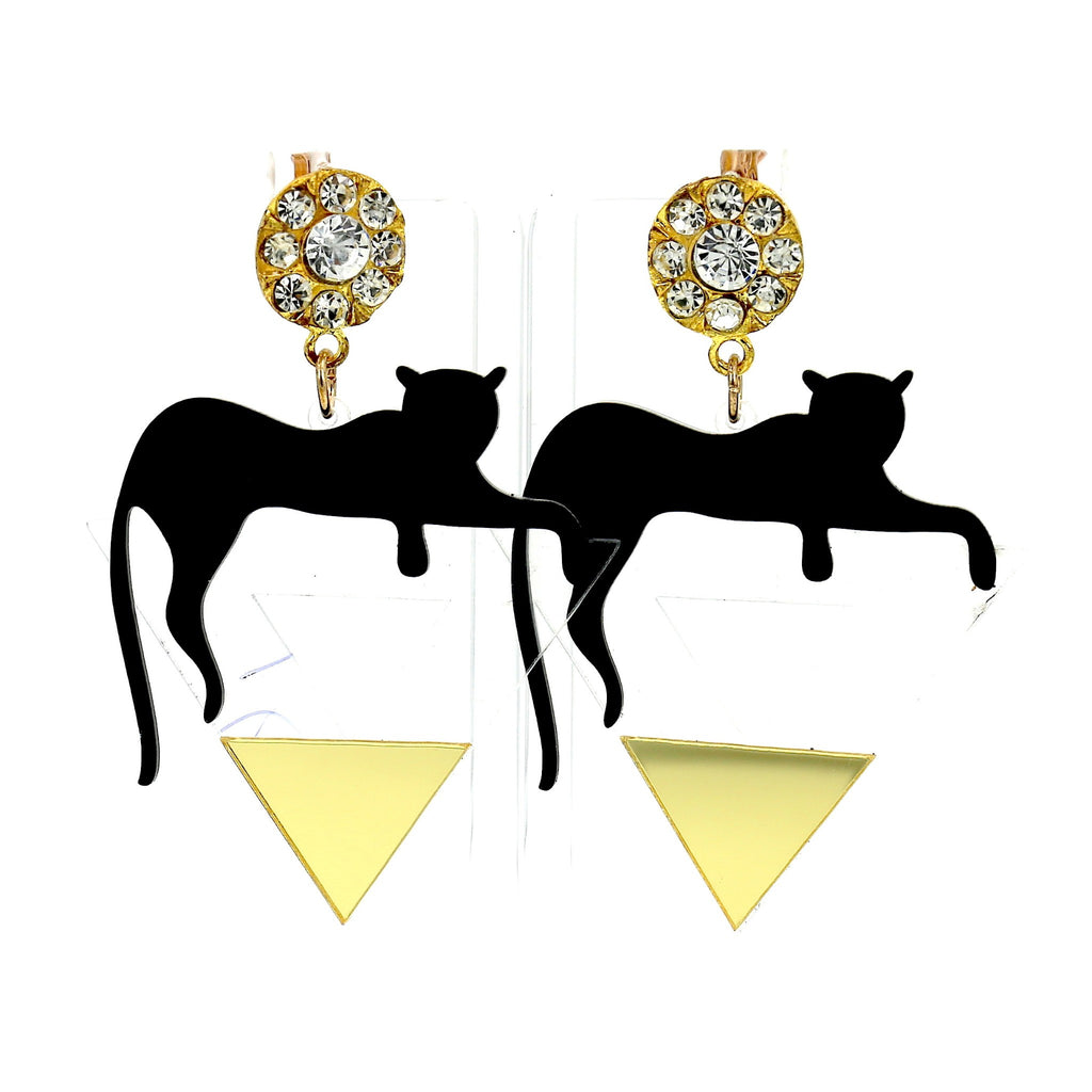 Leopard Gold Edgy Triangle Stud Earrings