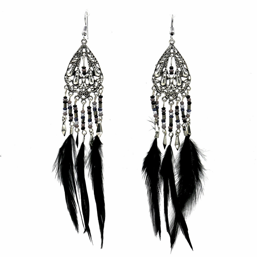 Feather Beads Vintage Dangle Earrings