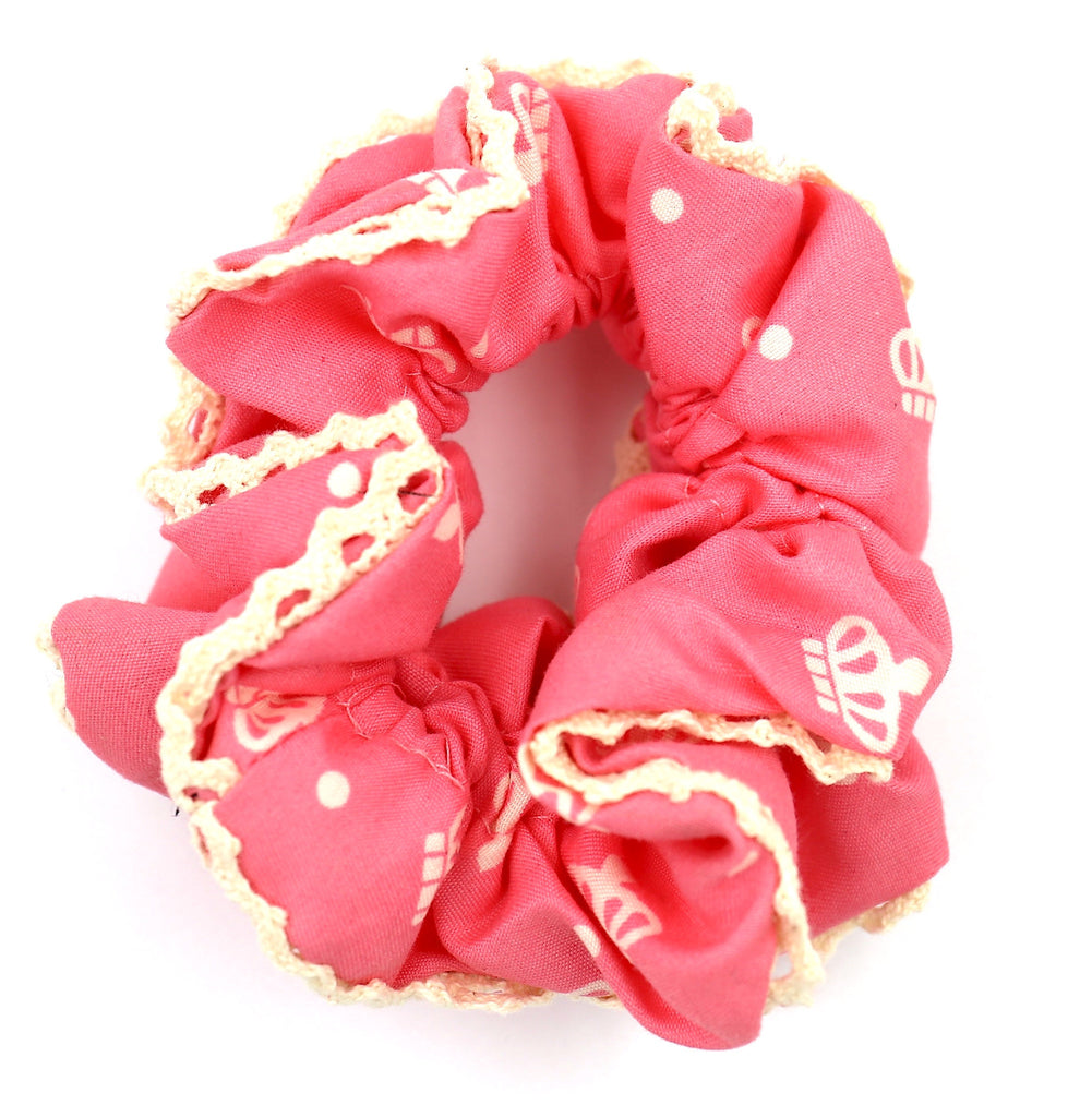 Hair Accessories Pink Crown Simply Lace Girly Chic Ponytail Scrunchies