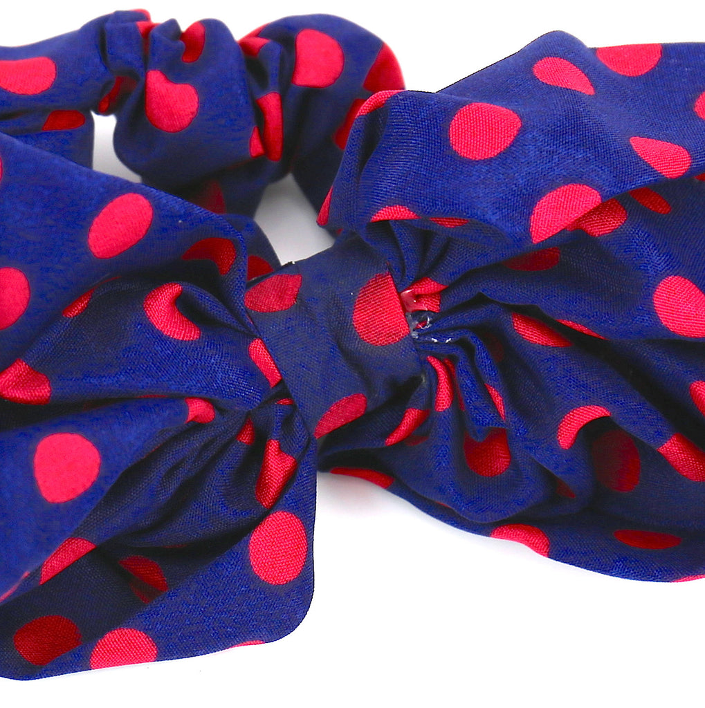 Hair Accessories Scrunchie Adjustable Blue Red Dot Lovely Bow Pattern