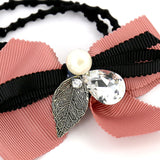 Hair Accessories Scrunchie Adjustablec Peach Crystal Lovely Bow