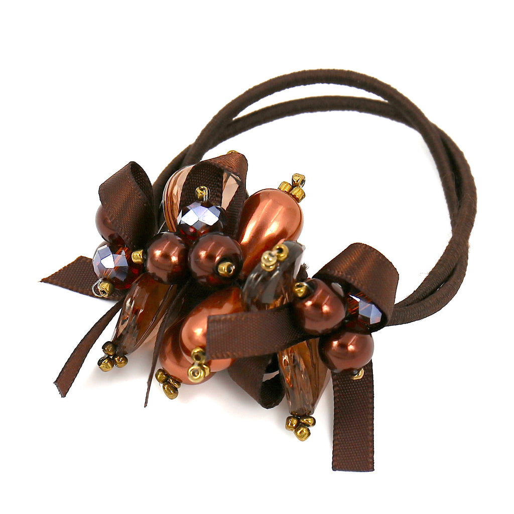 Hair Accessories Scrunchie Adjustable Brown Pearl Pattern