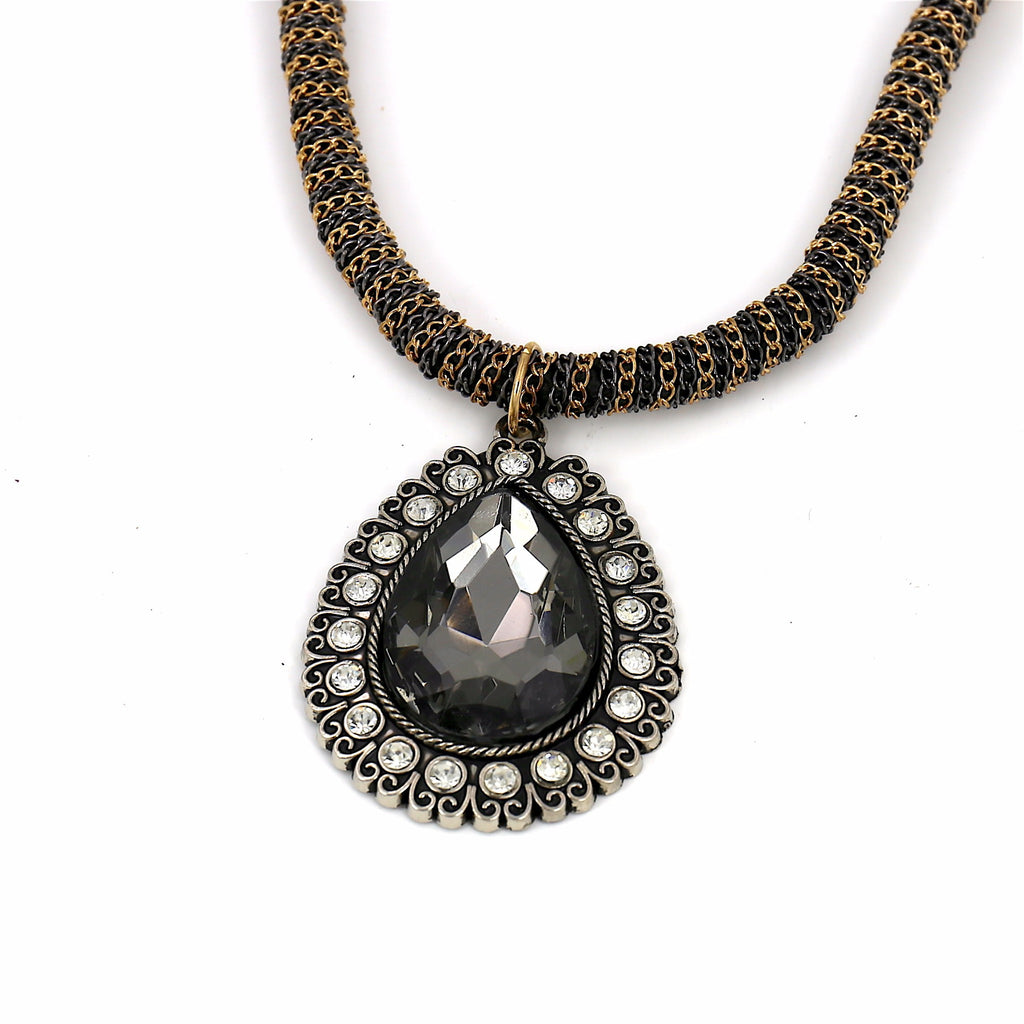 Gray Big Stone Teardrop Pendant Statement Necklace