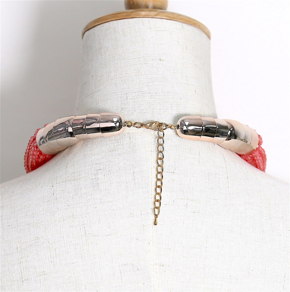 Red Bead Earring Multi-row Chain Collar Necklace