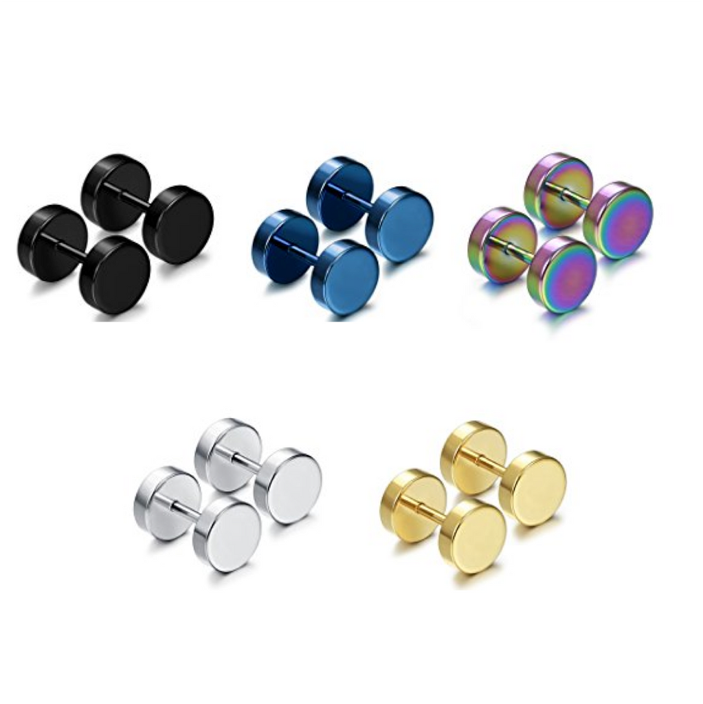 Men Stainless Steel Boys Round Black Gold Faux Plug Studs Earrings (8mm Mix Color ( 5pairs))