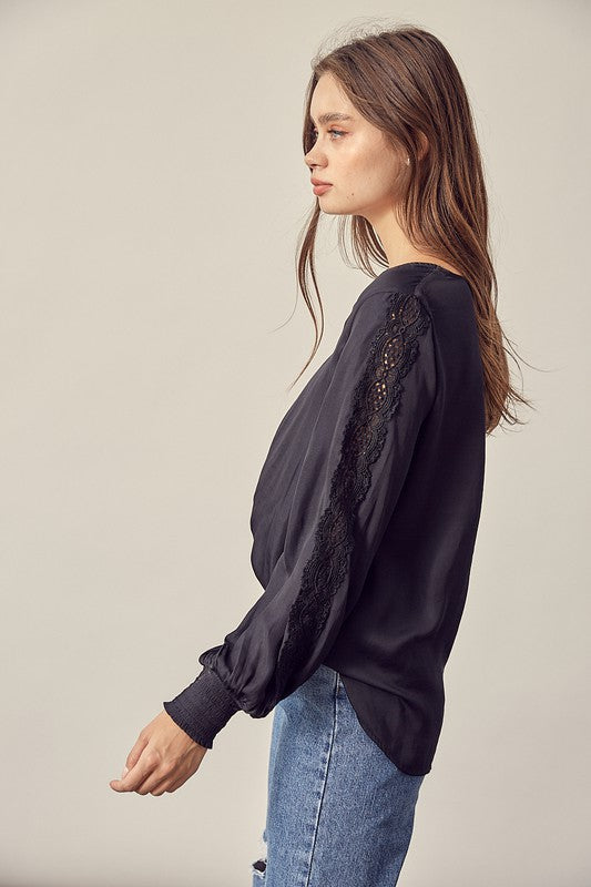 Lace Sleeve V-Neck Top