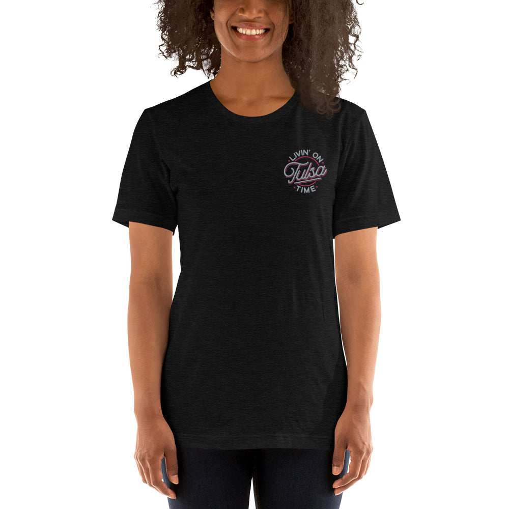 Livin on Tulsa Time Embroidered Tee Unisex, TShirt, - The Vintage Phoenix Marketplace