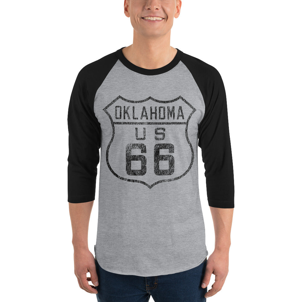 Route 66 Vintage 3/4 sleeve Raglan T-shirt - Gray/Black - Vintage Phoenix Marketplace