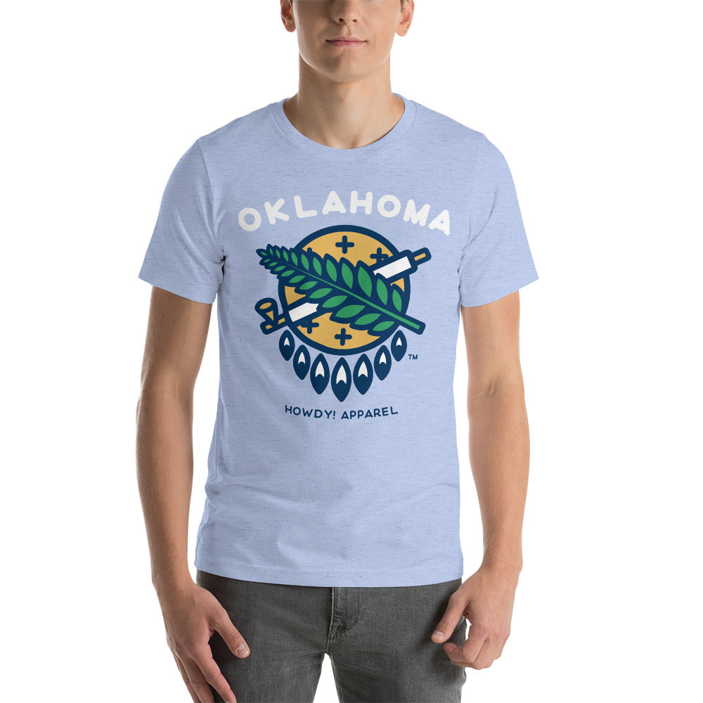 Osage Shield Classic T-shirt - All The Blues Unisex - Vintage Phoenix Marketplace
