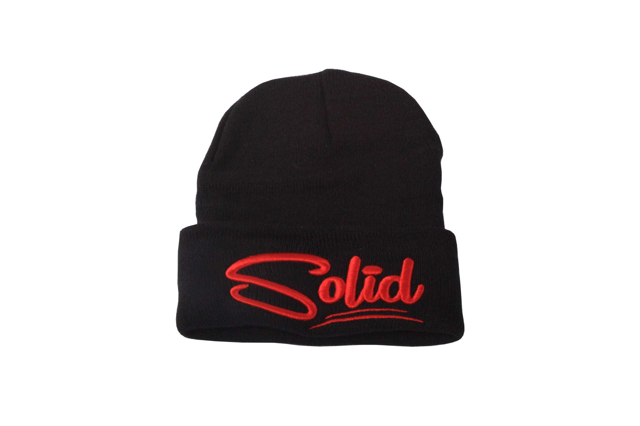 """Solid""Black/Red Beanie"